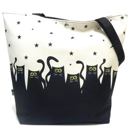 Magnetic Snap Fastener Bag With Cats Ans Stars
