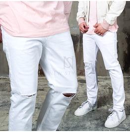 Knife Knee Cut Accent White Denim Jeans 264