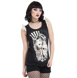 Jawbreaker Clothing Women's Cirque Du So Goth Skull Print T Shirt With