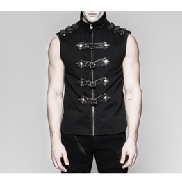 Gothic Cyber Steampunk Military Rock Black Vest Top