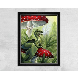 Green Dragon Sitting On Toadstool In Cannabis Leaves Print