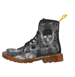 Shabby Chic Skull Gents Combat Boots