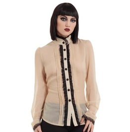 Jawbreaker Clothing Women's Ruffled Sheer High Neck Beige Shirt