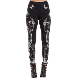Jawbreaker Clothing Women's Black Illustrated Death Leggings