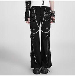 Punk rock women pants hip hop casual rave visual chain trousers pants