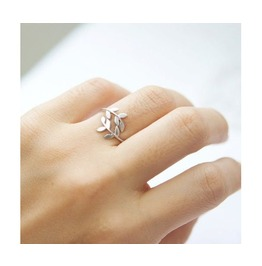 Cute Adjustable Alloy Leaf Ring