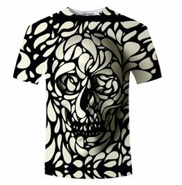 Black white 3 d print skull pop out short sleeve casual t shirt t shirts