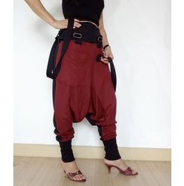 Red Maroon Suspender Two Tone Asymmetrical Gothic Drop Crotch Pants P15