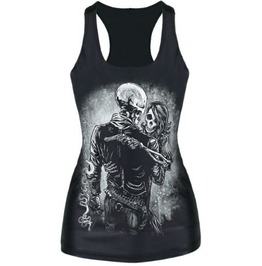 Sleeveless Round Neck Skull Print T Shirt S3