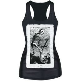 Sleeveless Round Neck Skull Print T Shirt S5