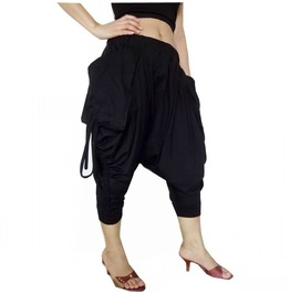 Black Capri Drop Crotch Mega Pockets Pants Unisex P68