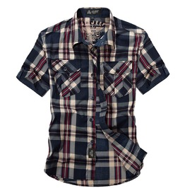 Short Sleeve Loose Plaid Cotton Summer Casual Army Dress Shirt Plus Size