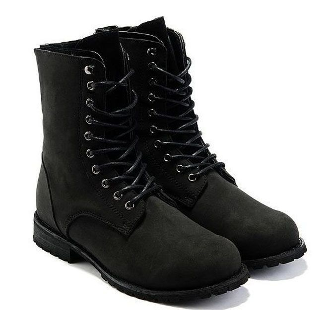 rational construction skate shoes highly praised England Style High Top Black Retro Combat Boots