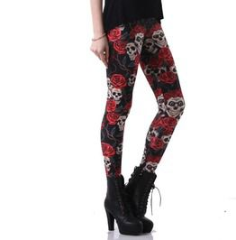 Punk goth retro red rose skull 3 d print workout leggings leggings