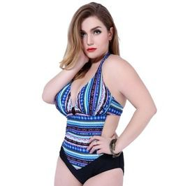 61f4494864 Bohemian Sexy One Piece Hollow Out Side Backless Halter Plus Size Swimsuit