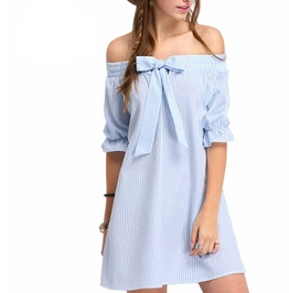 Off The Shoulder Striped Bow Spring Summer Mini Dress