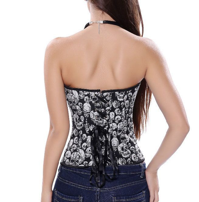 d70336578a8 Gothic Skulls Design Cosplay Top Lace Up Boned Plus Size Corset
