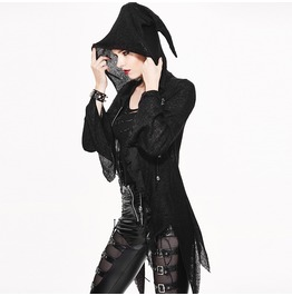 Women's Steampunk Irregular Hem Lace Up Zipper Hooded Sweater 003