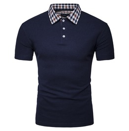 Men's Plaid Collar Contrast Slim Fitted Polo T Shirt