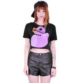 Pink Fetisn Rubber Duck Black Crop Top T Shirt