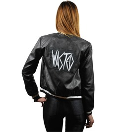 Black Wasted Bomber Jacket