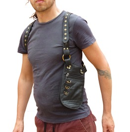 Underarm Leather Holster Bag Festival Travel Pouch Version Steampunk Black