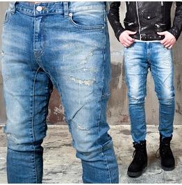 Distressed Scratch Accent Slim Blue Denim Biker Jeans 270