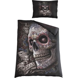 Spiral El Muerto Reversible Single Duvet Cover Day Of The Dead Gothic Tatto
