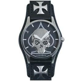 Skull & Spade Watch Black Leather Wristband