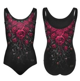 Spiral Swimsuit Gothic Blood Rose Scoop Back Padded Goth Swimming Costume