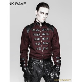 Red Gothic Loop Military Uniform Long Sleeve Shirt For Men Y 753 Mrd