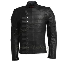 Gothic Soldier Men Leather Jacket Steam Punk Military Fashion Leather Jacket