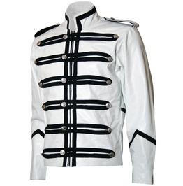Gothic Military Style Leather Jacket Men White Motorcycle Leather Jacket