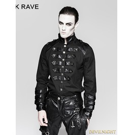 Black Gothic Loop Military Uniform Long Sleeve Shirt For Men Y 753 Mbk