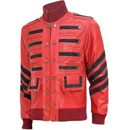 Gothic Men Leather Jacket Maroon Bomber Military Style Fashion Leather Jack