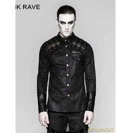 Black Heavy Metal Gothic Punk Shoulder Long Sleeve Shirt For Men Y 740
