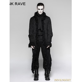 Black Gothic Decadent Long Coat For Men Y 759