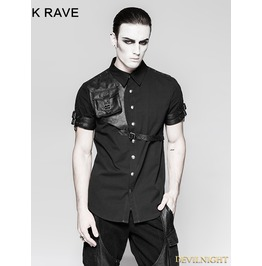 Black Steampunk Messenger Bag Shirt For Men Y 757 Mbk