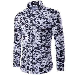 Black White Camouflage Printed Long Sleeve Casual Shirt