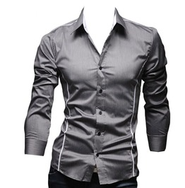 Slim Cutting Edge Turn Down Collar Mens Top Long Sleeve Shirt