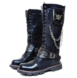 1df6e028069 Skull Metal Chain Steampunk Military Lace Up Motorcycle Boots