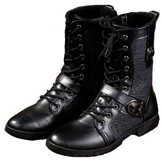 Steampunk Black Lace Up Buckle Strap PU Leather Motorcycle Boots
