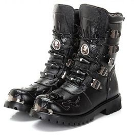 33d750c6d8c Genuine Leather Gothic Punk Military Motorcycle Boots
