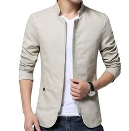 Stand Collar Solid Color Slim Fit Jacket