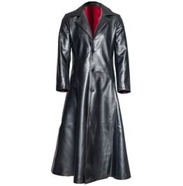 Mens gothic steampunk long coat pvc leather long jacket goth vampire coat coats