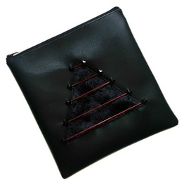 Black Square Clutch Bag With Velvet Triangle Design