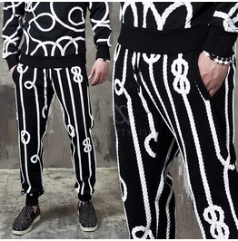 White Rope Embroidered Black Sweatpants 256