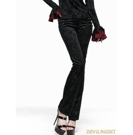Black Gothic Long Flared Trousers For Women K 201