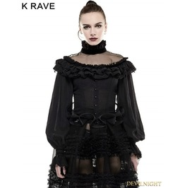 Black Gothic Lolita Lantern Sleeves Shirt For Women Ly 054