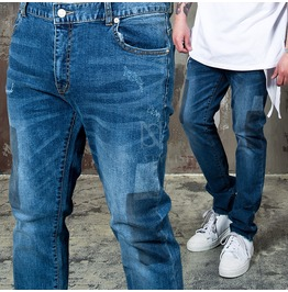Squared Stain Accent Blue Denim Jeans 266